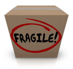 Fragile Word Written on Cardboard Box Packing Move Delicate Item