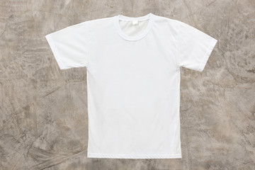 White blank T-shirt on Grunge Concrete Wall texture background