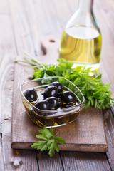 Black olive in bowl