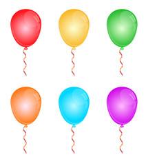 Color glossy balloons on white.