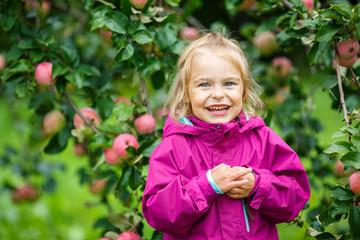 Little girl in the apple garden