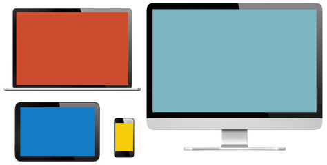 Group of Digital Devices with Colourful Screens