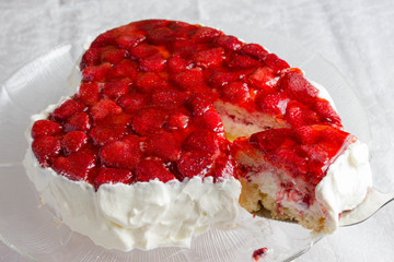 Heart shaped cake with strawberry jelly