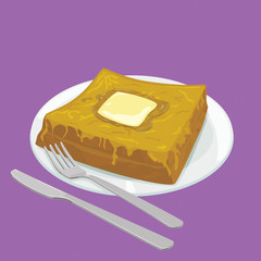 A illustration of Hong Kong style food French Toast with butter