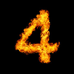 Number Four made from fire flame