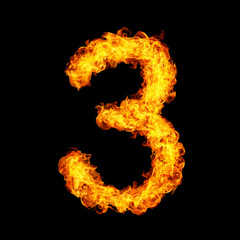 Number Three made from fire flame