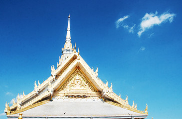 white temple at Wat Sothorn temple, Thailand