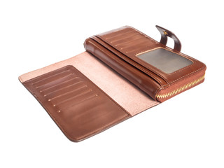 Open inside brown genuine leather wallet