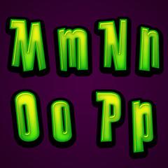 Halloween modern font MNOP