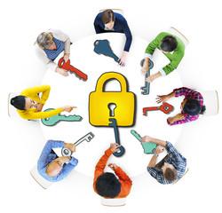Multiethnic People with Lock and Keys Symbols