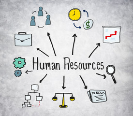 Human Resources Symbols on Concrete Background