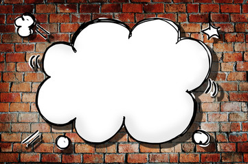 Cloud Shape Speech Bubble on Brick Wall