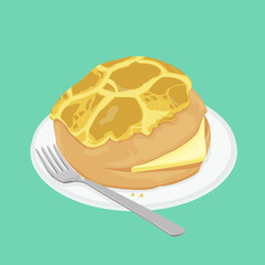 A illustration of Hong Kong style food pineapple bun