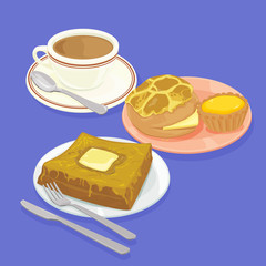 A illustration of Hong Kong style food set.Teatime