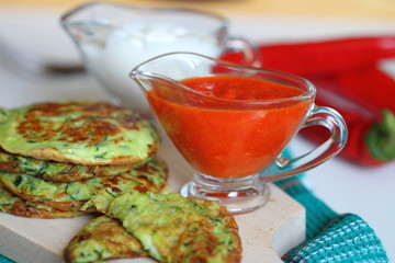 hot pepper sauce with zucchini fritters