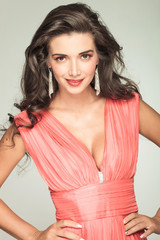 happy attractive woman in red dress smiling