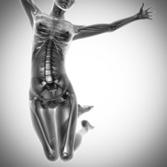 jump woman radiography scan image