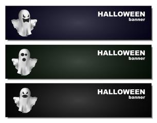 Halloween ghosts banner set