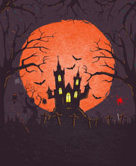Halloween background with old style grunge texture