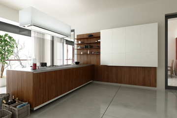Kitchen accented in Wood