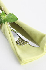 Fork, Knife and Green Napkin