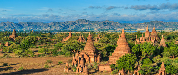 Pagoda view in Bagan where has a few thousand of pagoda, Myanmar