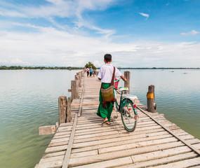 Myanmar walks on U-Bein Bridge, Myanmar