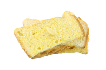 Butter toasted bread isolated.