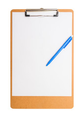 clipboard wooden with pen.