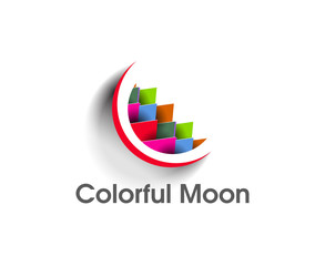 Illustration of a Colorful moon on a white background.