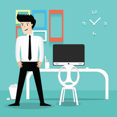 business person in office. vector illustration