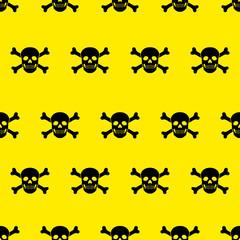 Hintergrund Piratenflagge Totenkopf, schwarz, gelb, nahtlos