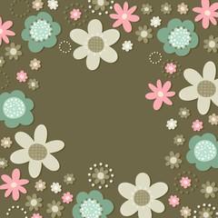róż turkus brąz kwiaty i kropki rama na ciemnym tle