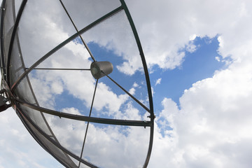 satellite dish with sky background