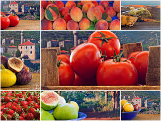 Collage of mixed fresh fruit and vegetables