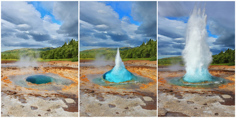 Three phases of the eruption of the geyser