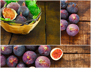 Collage of ripe purple figs
