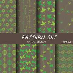 sweet brown anf retro pink natureal pattern set ver3
