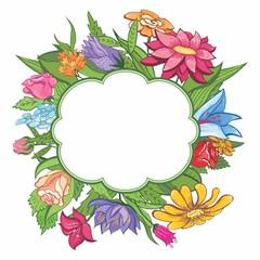 Vector bright flower frame