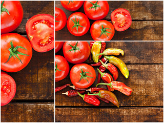Collage of tomato and chilli peppers