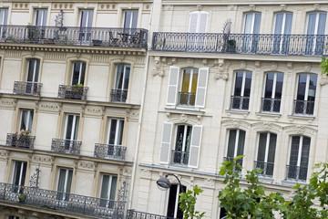 Fassade eines modernen Wohngebäudes Paris, Frankreich