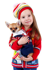 Child with a small dog on white background, isolated.