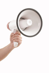 Person hand holding megaphone