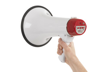 Person holding megaphone