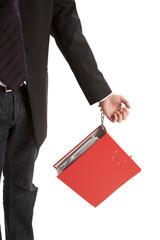 Folder hanged on person hand