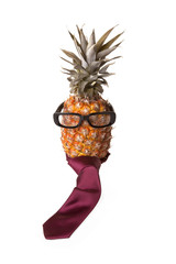 Pineapple with eyeglasses and necktie