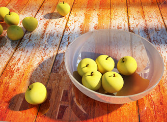 green apples on the wooden table