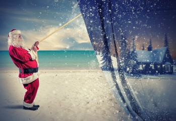 Santa Claus pulls the winter