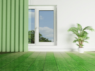 green plant near the window