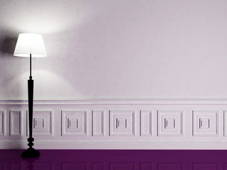 a nice  lamp on the violet floor